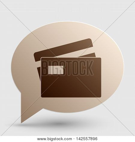 Credit Card sign. Brown gradient icon on bubble with shadow.