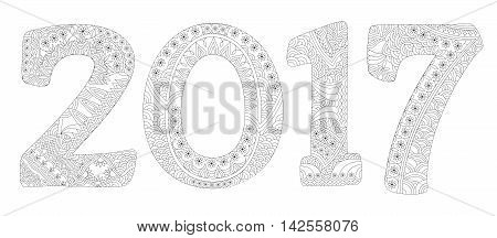 Happy New Year 2017 celebration number in zentangle style. Antistress coloring book. Vector illustration.