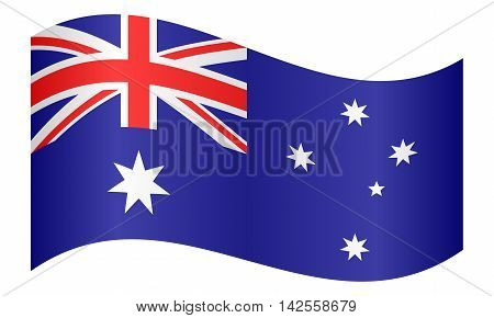 Flag of Australia waving on white background. Australian national flag. vector