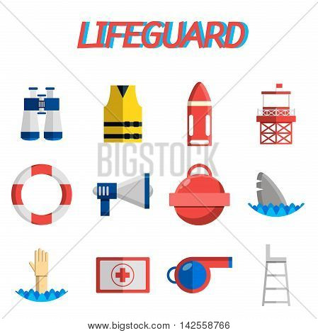 Lifeguard flat icons set with water rescue symbols isolated vector illustration