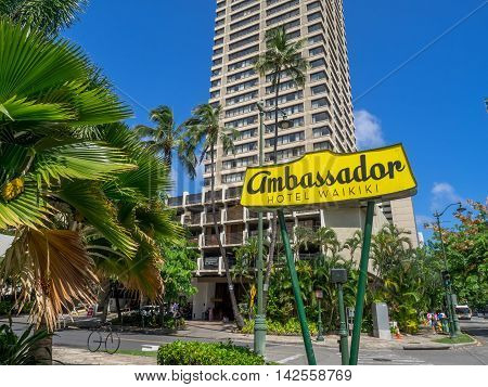 HONOLULU, USA - AUG 7: Famous sign for the Ambassador Hotel on August 7, 2016 in Honolulu, Usa. The Ambassador Hotel is located in Waikiki.