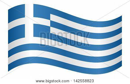 Flag of Greece waving on white background. Greek national flag. vector