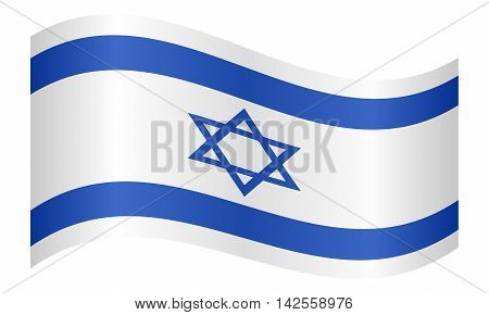 Flag of Israel waving on white background. Israeli national flag. vector