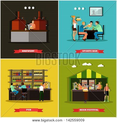 Vector set of brewery and beer restaurant concept banners. Visitors drink alcohol in a bar.