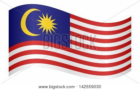 Flag of Malaysia waving on white background. Malaysian national flag. vector