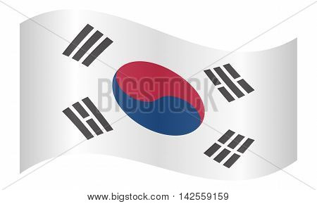 Flag of South Korea waving on white background. South Korean national flag. vector