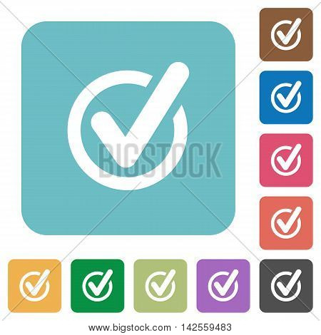 Flat checked data icons on rounded square color backgrounds.