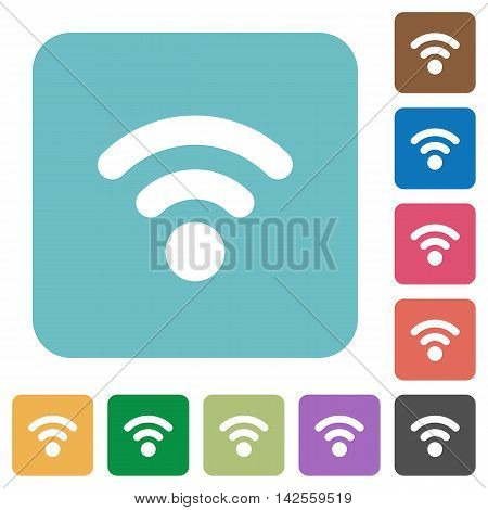 Flat radio signal icons on rounded square color backgrounds.