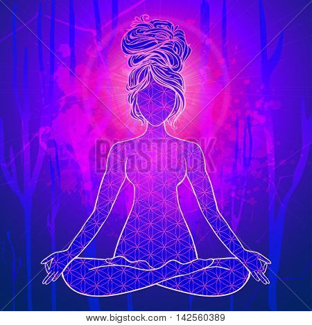 Yoga is a set of different spiritual, mental  physical practices beautiful card with Vector yoga Card for design textile textures logos  Yoga is Raja Yoga Karma Yoga Jnana Yoga Bhakti Yoga Hatha Yoga
