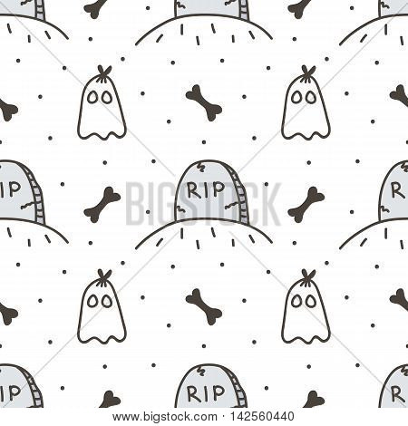 Spooky halloween seamless pattern background with tombstone and cute ghost.