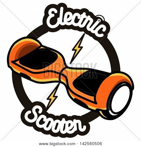 Color vintage Smart Self Balancing Electric Scooter emblem and design elements isolated on white background
