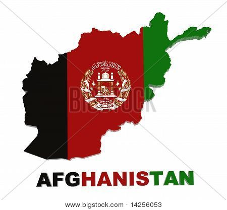 Afghanistan, Map with Flag, Isolated on White with Clipping Path