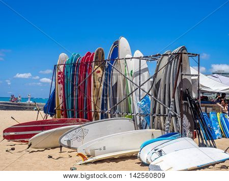 HONOLULU, USA - AUG 8: Surf rental shop on Waikiki beach on August 8, 2016 in Honolulu, Usa. Waikiki beach is neighborhood of Honolulu, best known for white sand and surfing.