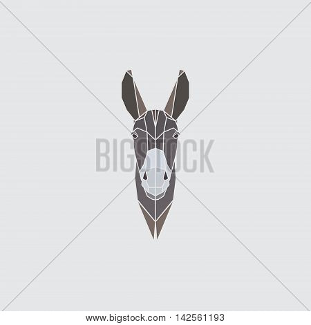 Multicolor head donkey on gray background. Polygonal style. Vector illustration.