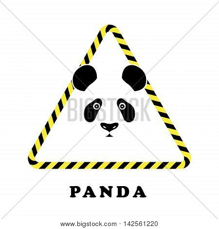 Icon head panda in a triangle tape danger. Collection concept vector pictogram for infographic project and logo.