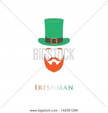 Vector flat irish man icon. Saint Patrick day.