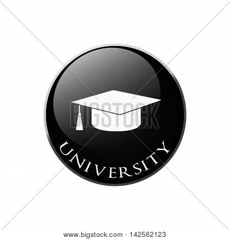 Graduation cap sign icon. Higher education symbol. Graphic design element. Symbol in circle button.