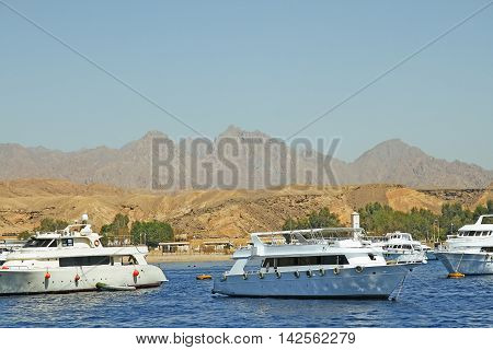 Yacht marinas near the mountains in the Red Sea in Egypt Sharm el Sheikh the reserve Russ Mohamed
