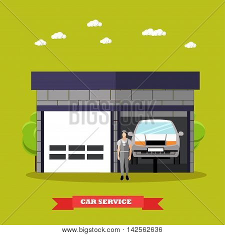Car repair shop concept vector illustration in flat style. Auto mechanic with car repair equipment and tools. Garage service.