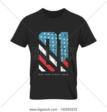 Vintage American flag old grunge effect tee print vector design.