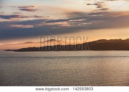 Fantastic Scenery Of Norwegian Fjord, Flam At Sunset