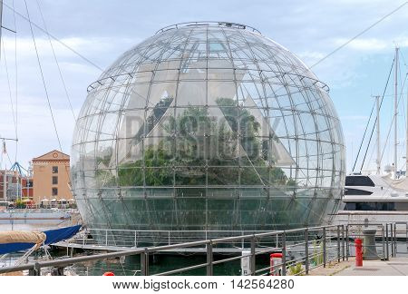 The giant glass sphere biosphere in the seaport of Genoa.