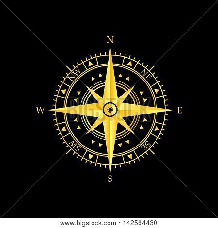 golden compass wind rose icon and background
