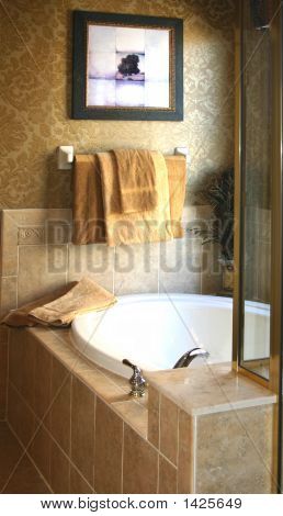 Tiled Garden Tub With Glass Shower