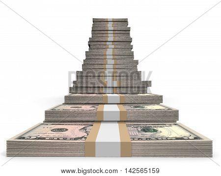 Five dollar banknotes on white background. 3D illustration.