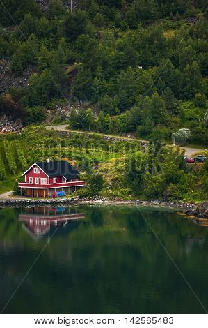 Fishing Huts Of Norwegian Village In Flam