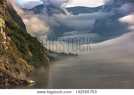 Fantastic Scenery Of Scandinavian Mountains, Flam, Norway