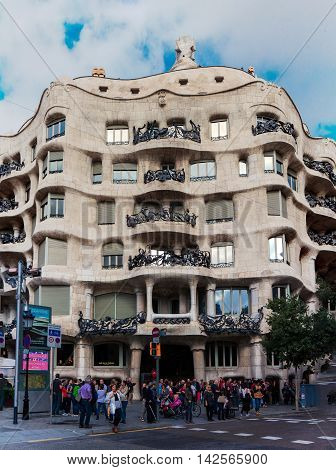 Barcelona Spain - October 27 2015: La Pedrera or Casa Mila a modernist building in Barcelona Catalonia Spain on 27 October 2015.