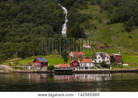 Fantastic Scenery Of Scandinavian Mountains And Norwegian Village, Flam