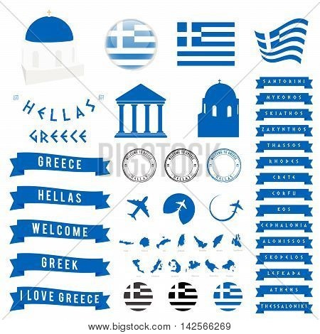 Greek Travel Symbol And Map Illustration