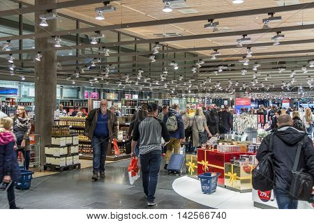 OSLO GARDERMOEN NORWAY - NOVEMBER 2:Interior of Duty Free Shop at Oslo Gardermoen International Airport on november 2 2014 in Oslo. The airport has biggest passenger flow in Norway.
