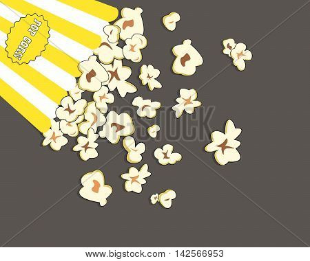 Heap popcorn for movie lies on grey background. Vector illustration for cinema design advertise. Food pile isolated. Border, frame for film poster flyer. Delicious theater sweet or salted snack.