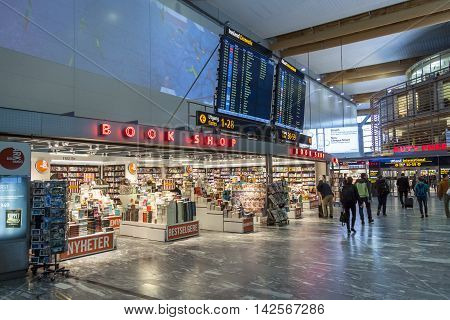 OSLO GARDERMOEN NORWAY - NOVEMBER 3:Interior of Duty Free Shop at Oslo Gardermoen International Airport on november 3 2014 in Oslo. The airport has biggest passenger flow in Norway.