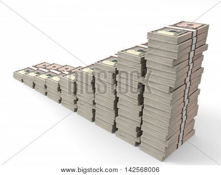 Money Stacks Graph. Five Dollars.
