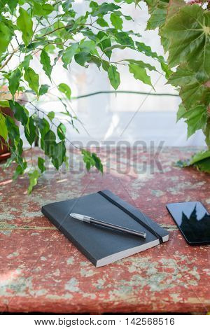 Phone, Pen, Notebook And Ficus