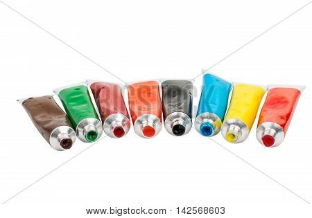 Tubes with acrylic paint on a white background
