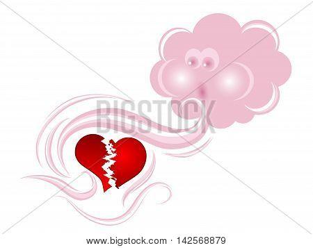 Pink cloud consoling a red broken heart