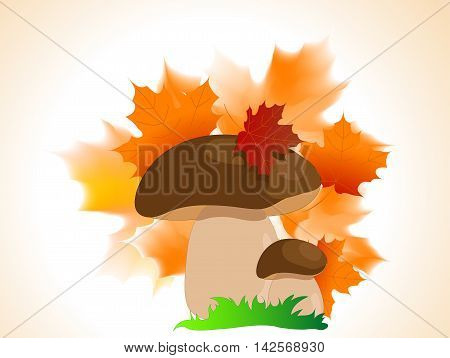 Cartoon brown boletus with autumn leaves and grass