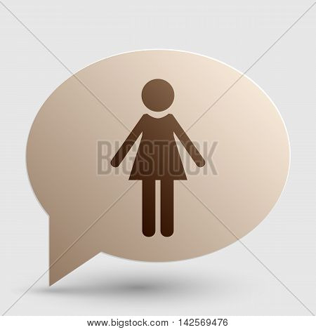Woman sign illustration. Brown gradient icon on bubble with shadow.