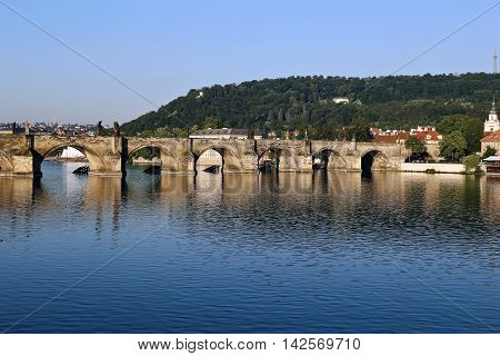PRAGUE, CZECH REPUBLIC - JUNE 24, 2016: Charles Bridge over the Vltava River in Prague Czech Republic
