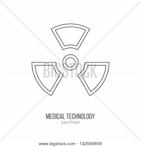Biohazard sign symbol. Single logo in modern thin line style isolated on white background. Outline medical symbol. Simple mono linear pictogram. Stroke vector logotype template.