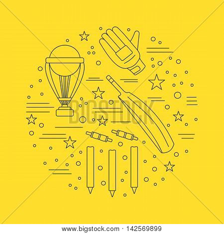 Round composition with cricket game symbols and objects. Cricket game icons arranged in round shape. Professional sport equipment graphic design elements isolated on yellow background. Vector template