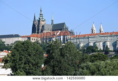 PRAGUE, CZECH REPUBLIC - JUNE 24, 2016: Prague Castle and Cathedral of saint Vitus in Prague Czech Republic