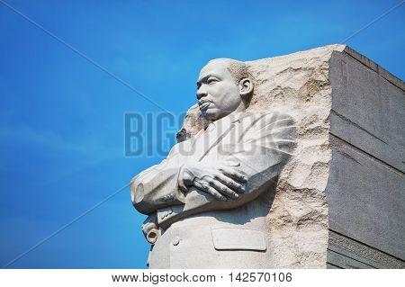 WASHINGTON DC - SEPTEMBER 2: Martin Luther King Jr memorial monument on September 2 2015 in Washington DC.