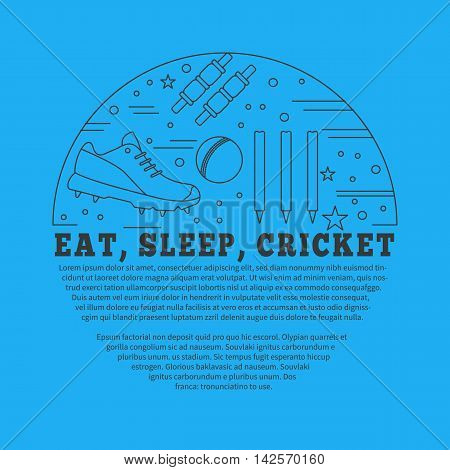 Flyer poster with cricket symbols and objects in circle with place for text. Vector template with professional cricket sport graphic design elements in thin line style isolated on blue background.