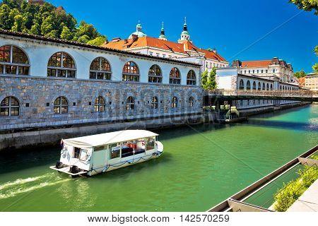 Ljubljanica river of Ljubljana tourist boat capital of Slovenia
